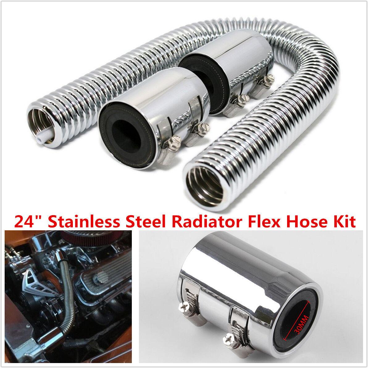 "24"" Universal Chrome Stainless Steel Radiator Flex Coolant Water Hose Kit w/Caps"