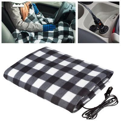 1X 12V Car Electric Heated Blanket Travel Rug Throw Polar Fleece Heating Blanket