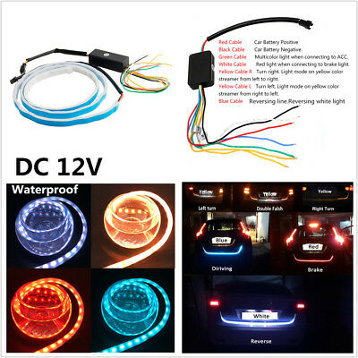 12V 4 Colors Flowing LED Strip Car Trunk Side Turn Signal Rear Brake Tail Light
