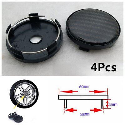 4X 60Mm 58Mm Universal Carbon Fiber Surface Car Suv Wheel Center Hub Caps Cover