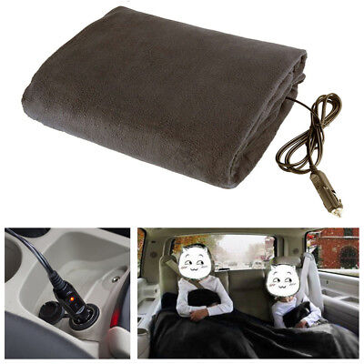 12V 48W Heated Car Electric Blanket Travel Rug Seat Heated Fan Colorful Random