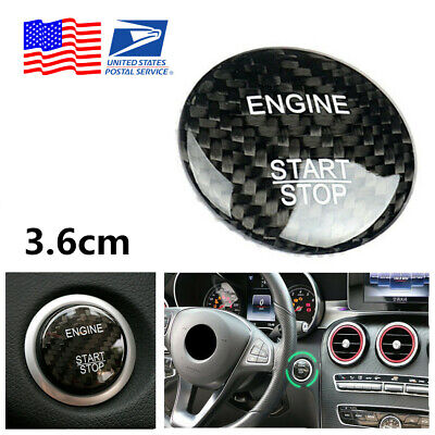 For Mercedes Benz C Class Carbon Fiber Engine Start Stop Button Cover Sticker US