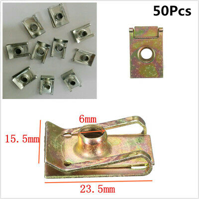 50Pcs M6 6mm Spire Nut Fairing Clip Fastener Speed Clamp Car Bumper Metal Clip for sale  China