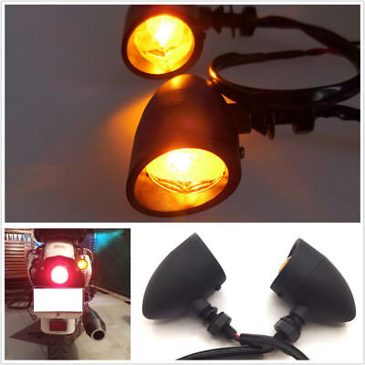 2x Universal Motorcycle Turn Signal Light Amber LED Indicator Cafe Racer Chopper