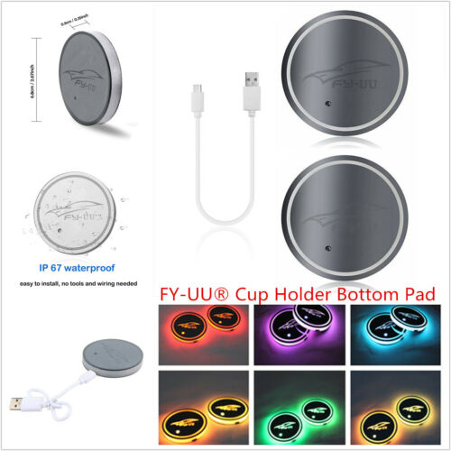 1 Pair FY-UU Car USB Charger Cup Holder Bottom Pad Cover with 7 Color LED Light