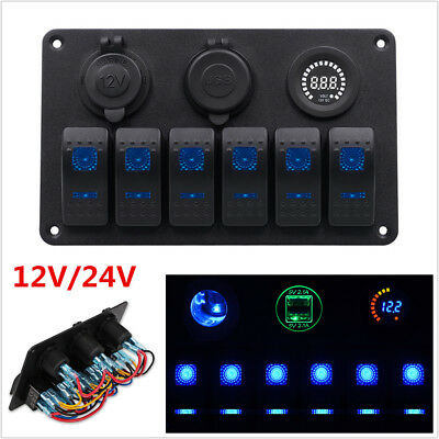 12/24V 6 Gang Car LED Rocker Switch Dual USB Panel Circuit Breakers Waterproof