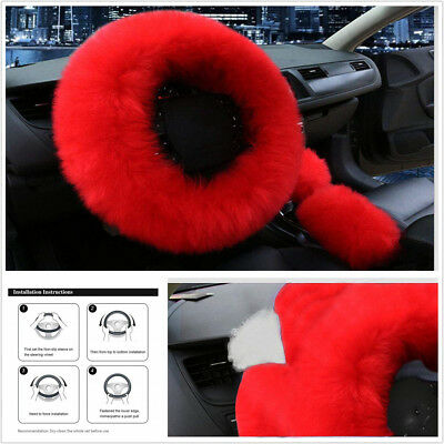 3Pcs Fur Furry Fluffy Thick Faux Wool Chinese Red Color Car Steering Wheel Cover