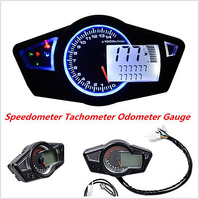 Motorcycle 15000RPM LCD Digital Odometer Speedometer Tachometer Gauge