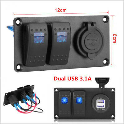 2-gang Blue Led Rocker Switch Panel Circuit Breaker Dual Usb Charger Car Truck