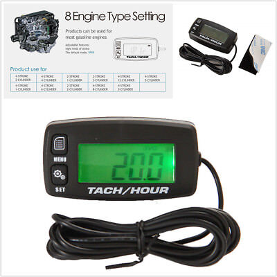 Motorcycle Backlight Resettable Inductive Tach Hour Meter Display Current RPMs
