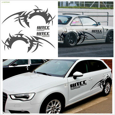 DIY 2Pcs Grey Car Side Body Long Wheel Eyebrow Flame Stripe Vinyl Decal Sticker
