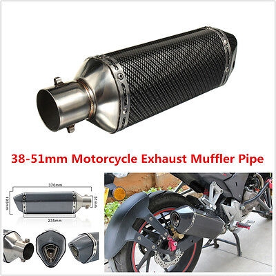 38-51mm Black Carbon Fiber Exhaust Muffler Pipe w/Removable DB Killer