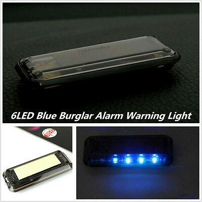 Solar Energy 6Led Blue Lamp Car Security Alarm Warning Anti Theft Burglar Light