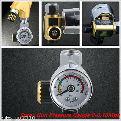 Car G1/4 Metal Spray Paint Gun Air Pressure Regulator Spray Gun Gauge 0-0.10Mpa