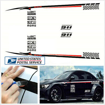 Pair Red & White Car Whole Body Bumper Sticker BK Material Vinyl Sticker -USA