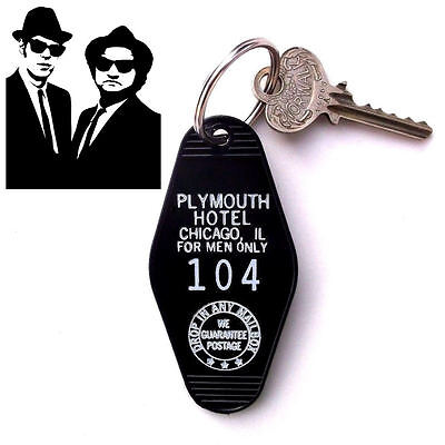 Rare THE BLUES BROTHERS Plymouth Hotel PROP KEY TAG, Jake & Elwood movie Chicago