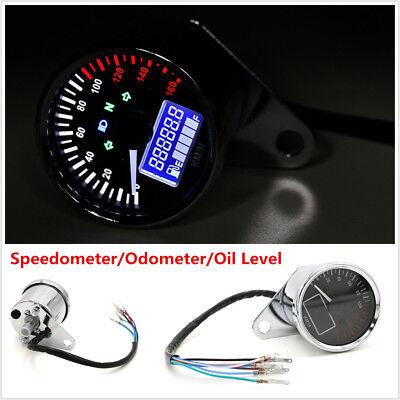 LCD Digital Motorcycle Odometer Speedometer Gauge Fuel Level Meter LED Indicator