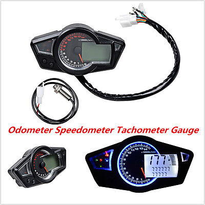 15000 RPM LCD Multi-Function Motorcycle Speedometer Tachometer Odometer Gauge