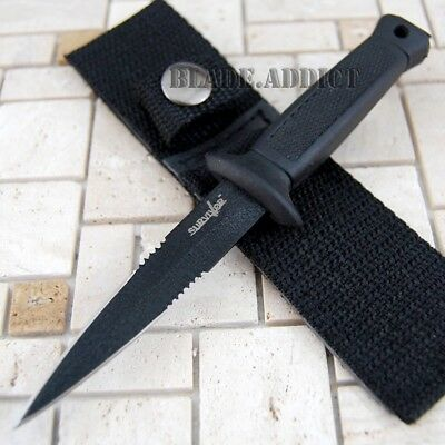 "6.5"" Double Edge BLACK Military Combat Fixed Blade Boot Knife Throwing Dagger"