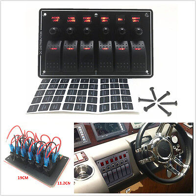 12v 24v 6 Gang Red Led Rocker Switch Panel Circuit Breakers Auto Car Boat Marine