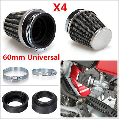 4Pcs 60mm Inlet Cold Air Intake Tapered Air Filters Cleaner For Motorcycle Racer