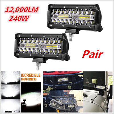 2x 6inch Car Off-Road Driving Fog Light Spot Flood Combo LED Work Light Bar 240W