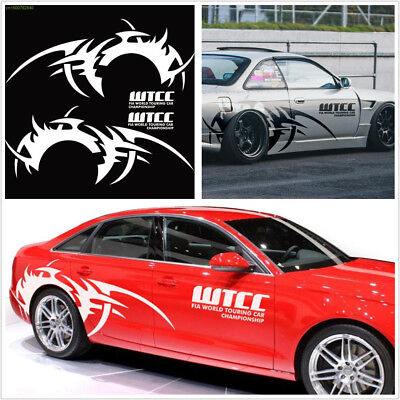 2X White Car Side Body Vinyl Wheel Eyebrow Flame Hot Wheel Graphic Decal Sticker