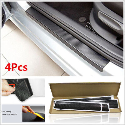 4XBlack 3D Carbon Fiber Look Car Off-Road Door Plate Door Sill Scuff Plate Decal for sale  Shipping to Nigeria