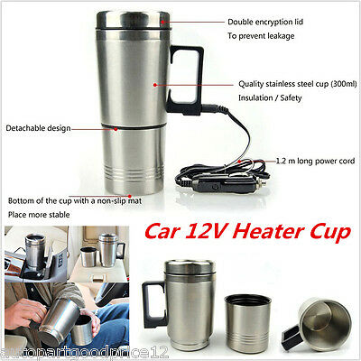 12V Portable In Car Coffee Maker Tea Pot Thermos Heating Stainless Steel Cup New