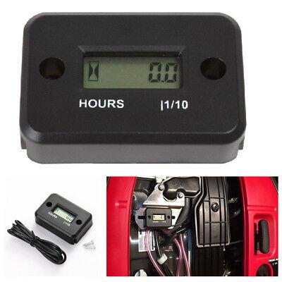 Black Digital LCD Counter Hour Meter For Car Marine Motorcycle Generator Engine