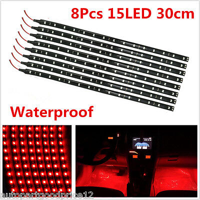 8pc Red 15LED Car Grill Flexible Light Strip / Footwell Floor Decor Lamp SMD -