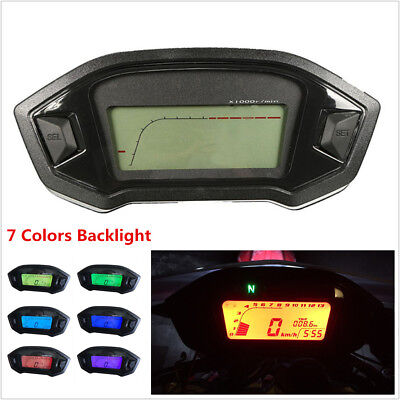 Motorcycle LCD Digital Speedometer Odometer LED Backlight Speed Sensor N-5 Gear