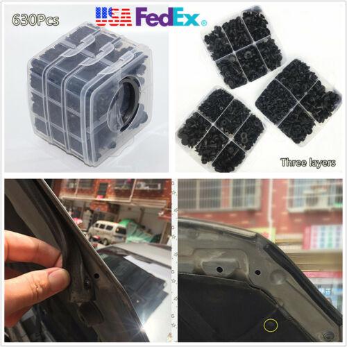 Car Parts - 630X Black Plastic Car Bumper Door Trim Fasteners Set Repair Parts Clip Fastener