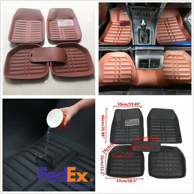 5 Pcs Brown PU Leather Car Floor Mats Carpet Waterproof For All Weather US Stock
