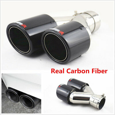 Universal Glossy Carbon Fiber Car Exhaust Dual Pipe Tail Muffler End Tip -