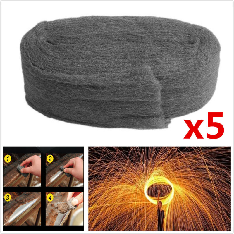 5Pcs 3.3M Grade 0000 Steel Wire Wool for Polishing Cleaning Remover Non Crumble