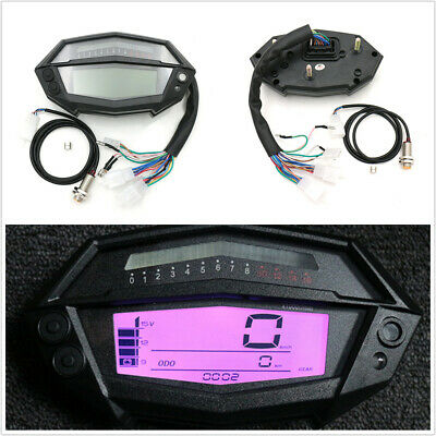 7 Colors LCD Digital Motorcycle Speedometer Odometer Fuel Level km/h MPH Adjust