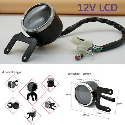 12V LCD Screen Display Motorcycle Digital Speedometer Odo Tachometer Fuel Guage