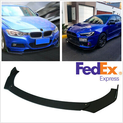 3Pcs Glossy Black Car Automobile Front Bumper Lip Chin Spoiler Body Kit Splitter