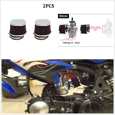 2PCS 60mm Red Motorcycle High Flow Air Filter Motocross Scooter Air Pods Cleaner