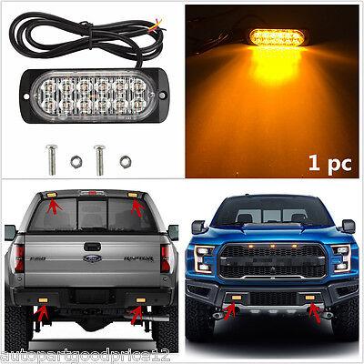 1X Ultra Slim 12 Led Car Truck Surface Mount Amber Flashing Strobe Warning Light
