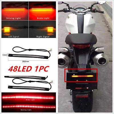Flexible Motorcycle 48 LED Light Strip Rear Tail Brake Stop Turn Signal Lamp Bar
