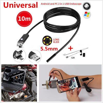10M 5.5mm 6LED HD Endoscope Snake Borescope USB Inspection Camera For Android PC for sale  Shipping to Canada