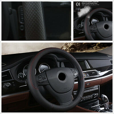 Black 38cm PU Leather Car Vehicle Steering Wheel Protector Cover For All Seasons