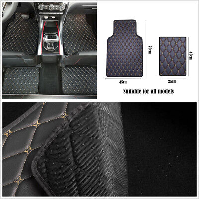 4 x Black wBeige Line PU Leather Car Interior Floor Mats Carpet For All Weather