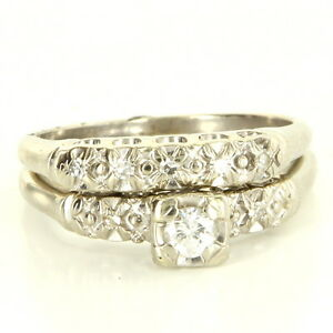 Vintage 14 Karat White Gold Diamond Wedding Ring Set Fine Estate Jewelry Used