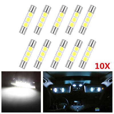 10Pcs Xenon White 12V 29mm 6614 LED Bulbs For Car Sun Visor Vanity Mirror Lights