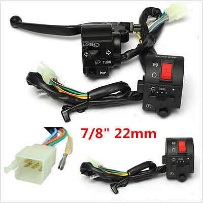 "12V Motorcycle 7/8"" Handlebar HeadLight Horn Turn Signal Electrical Start Switch"