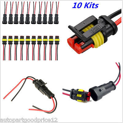 10Kit 2 Pin Waterproof Electrical Cable Wire Connector Plug Car truck -
