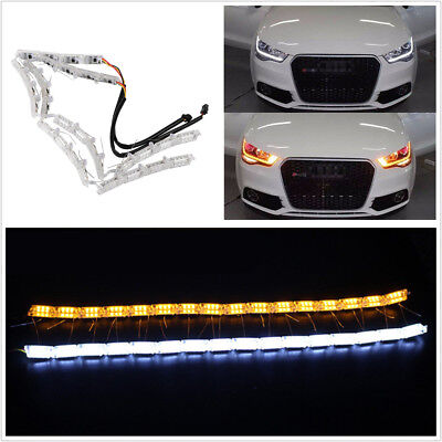 Pair Switchback Car Flexible LED Strip Light DRL Sequential Flowing Turn Signal